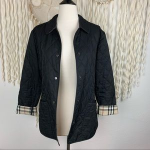 Burberry Black Quilted Snap Front Jacket